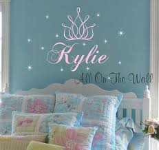 princess crown wall decal girl name nursery decals stars vinyl zoom