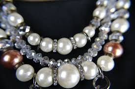 chunky pearl crystal necklace images Bold chunky faux pearl crystal flower statement necklace JPG