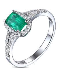 emerald engagement ring 1 50 carat emerald and halo engagement ring in white gold