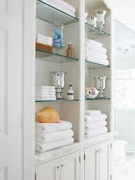 Glass Bathroom Storage Built In Linen Cabinet Traditional Bathroom Bhg