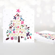 wish you a merry christmas tree gold pack of 5 christmas cards