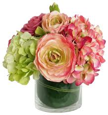 artificial flower arrangements home decor artificial silk flower with vase ranuculus arrangement