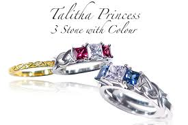 coloured gemstones rings images Celtic anniversary and gemstone rings talitha princess 3 stone png