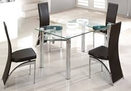 Glass Dining Table 6 Chairs Round Glass Dining Table With Metal Base Foyer Kids Style Compact