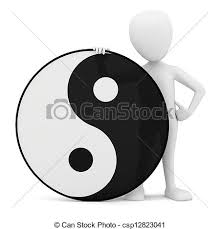 3d small person yin yang 3d image on a white background drawing