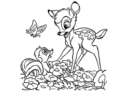 bambi flower butterfly coloring pages kids cdw