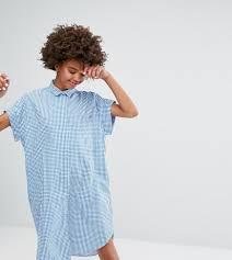 monki gingham short sleeved shirt dress in blue lyst