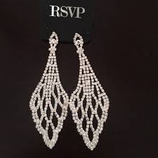 silver dangle earrings for prom charming jewelry rsvp bridal prom wedding bedazzled