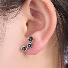 ear earrings 1 pcs chic three flowers cartilage earring ear stud climber helix