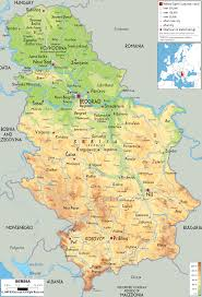 Map Of Europe Physical Features by Physical Map Of Serbia Ezilon Maps