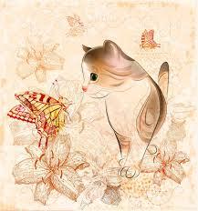 birthday card with little kitten flowers and butterflies u2014 stock
