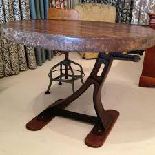 room and board custom table industrial ironing board table smokestack vintage