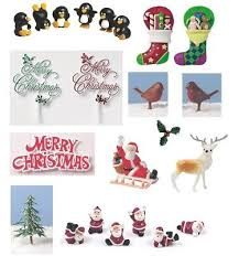 Plastic Christmas Cake Decorations Uk by Plastic Christmas Xmas Cake Decorations Santa Holly Deer U2022 2 99