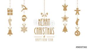 merry ornaments hanging gold isolated background stock