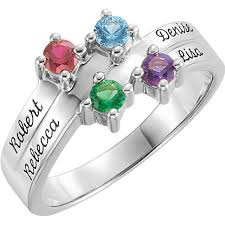 mothers ring white gold gold 1 to 4 stones names engravable ring