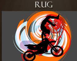 Grey And Orange Area Rug Orange Area Rug Etsy