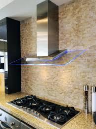natural stone mosaic tile backsplash modern stove hood beige