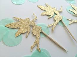 20 gold glitter fairy cupcake toppers birthday cupcake