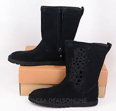 womens ugg lo pro boots nwt womens ugg lo pro floral cutout black suede leather boots