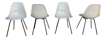 1958 eames for herman miller parchment shell chairs set of 4