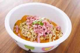 cuisiner pour bebe jambon à la purée de carottes aux céréales légumes secs une