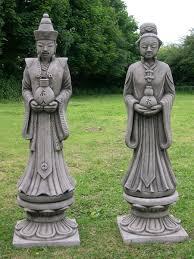 pair of japanese figures garden statues koi berkshire