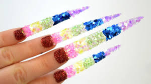 learn colors nail art glitter rainbow colours teach to kids