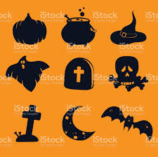 pumpkin cauldron potion witches hat ghost gravestone scull and