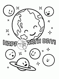 earth and planets happy earth day coloring page for kids