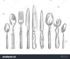 cooking handdrawn set kitchen tools spoon stock vector 363500489