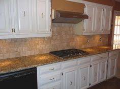 Backsplash Santa Cecilia Granite Desert Gold Mosaic And Roman - Backsplash for santa cecilia granite