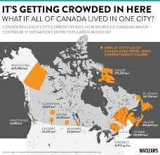 canadian map population distribution mapped what if all of canada lived in one city