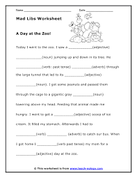 printable mad lib worksheets fun way to learn parts of speech