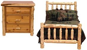bedroom deer antlers cedar log bed kits click nightstand with