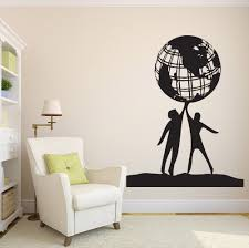 popular wall art wallpaper buy cheap wall art wallpaper lots from free shiping diy people world friendship earth globe planet peace vinyl wall sticker home decor wall