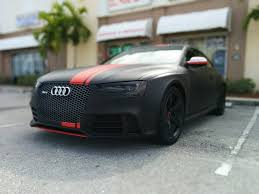 matte black car audi rs 5 wrapped in 3m matte black with matte red stripes by