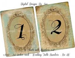 instant download vintage wedding table number cards no 5w 3 x