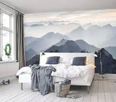 bedroom mural mystical mountains mural misty mountain shadow hazy silhoutte