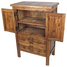 Armoire Drawers Small Rustic Old Wood Armoire 2 Doors And 4 Drawers