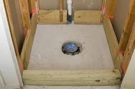 shower install on slab large around pvc drain ceramic