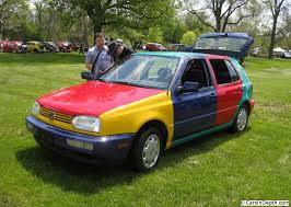 a volkswagen with a coat of many colors 1996 golf harlequin the