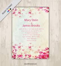 watercolor marriage invitation card template 123freevectors