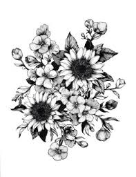 drawing black and white vintage design black grunge tattoo flower