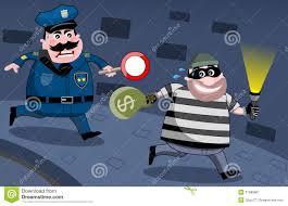 policeman chasing bank robber at night royalty free stock