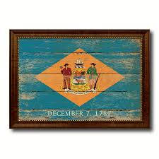 delaware state vintage flag canvas with black print picture frame
