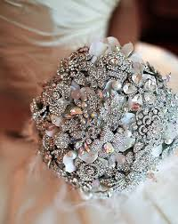 sparkly brooches bouquets non floral wedding inspiration