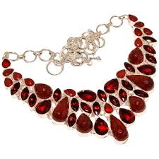 necklace stone setting images Vintage garnet stone with ruby bib necklace in 925 sterling silver jpg