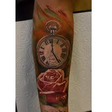 pocket watch and red rose tattoo tattoo geek ideas for best