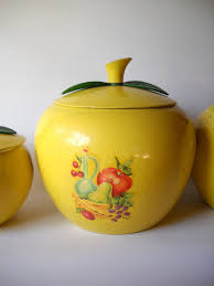 apple kitchen canisters vintage metal canister yellow apple set by vintage eye kitch