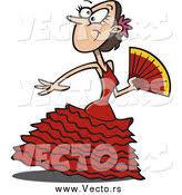 vector of a cartoon spanish beautiful flamenco dancer by ron